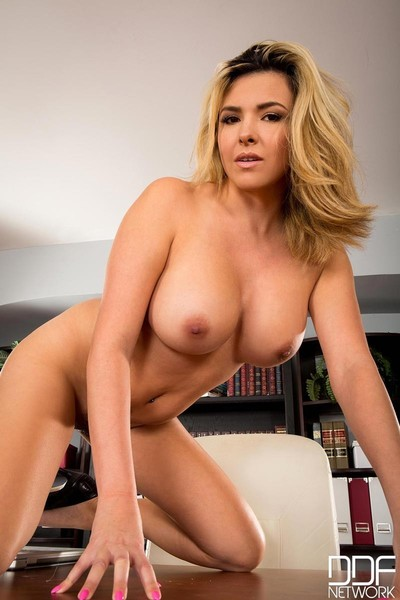 Big breasted office golden-haired strips