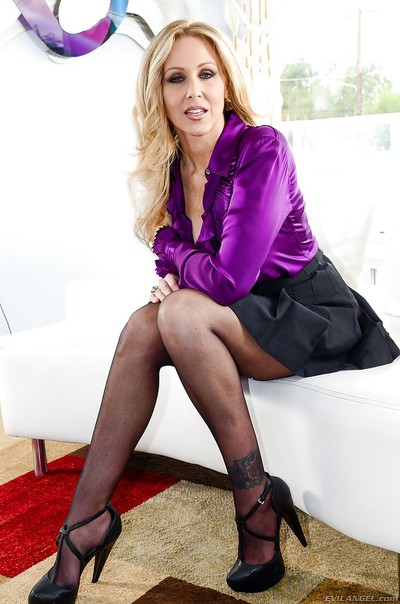 Unbelievable blonde MILF Julia Ann playing around with a strapon