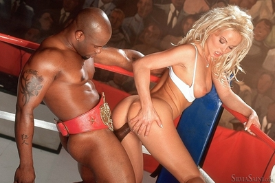 Slutty blonde pornstar Silvia Saint getting cum all over her boobs