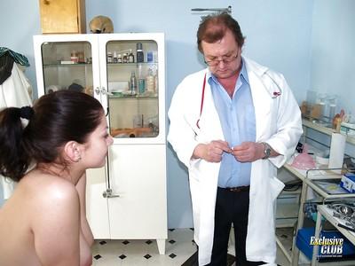Zealous flapper pornstar Monika gets naughty her old doctor
