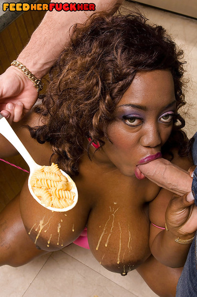 Boobsy black girl Nina Star getting her pussy filled at the dinner