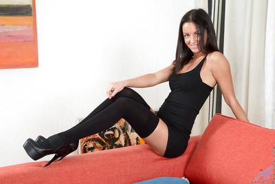 Nylon and high heel adorned brunette babe masturbating MILF love-cage