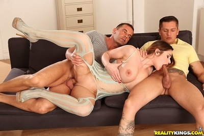 European milf Cathy gets 2 penetrated in this groupsex
