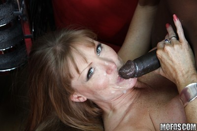 Mature cock swallower with big boobs Darla Crane has interracial anal sex