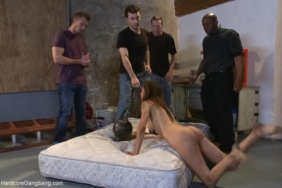 Babe gets tied up and bonked by interracial group of guys