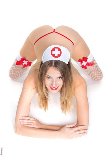 Leggy ashley lane takes her clothes off off her slutty nurse uniform