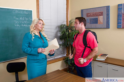 Fatty Milf teacher Alura Jenson smiles with cum on face after banging