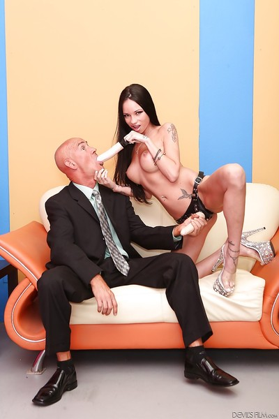 Tattooed brown hair Raven Bay is very this bald old man with dildo