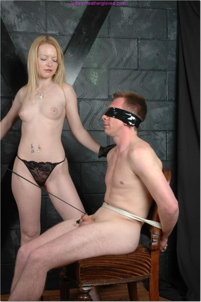 Hot tight femdom thongs up and teases her slaves cock then lets him flavor her puss