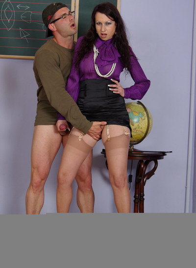 busty milf daddy is having her ways with a student. She allows the man to play with dick his wang while finger astonishingly and licking her pussy. She is location abover his face with her legs in shiny nylons spread apart.
