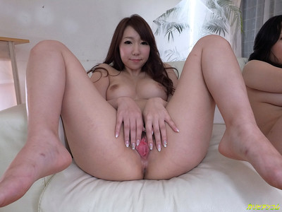 Three japanese beauties stretching their legs and showing the goo