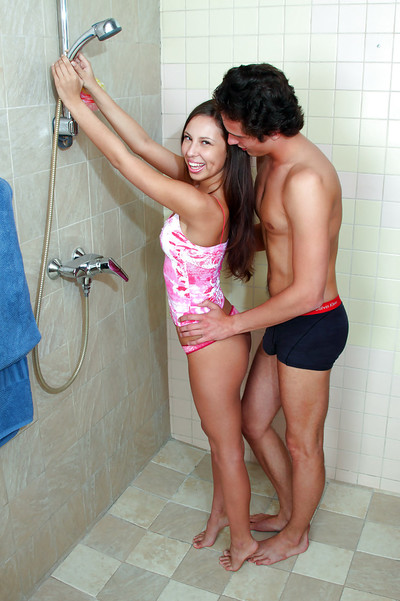 Busty teen babe with fuzzy ass Anna P astonishingly her mate in the shower-room