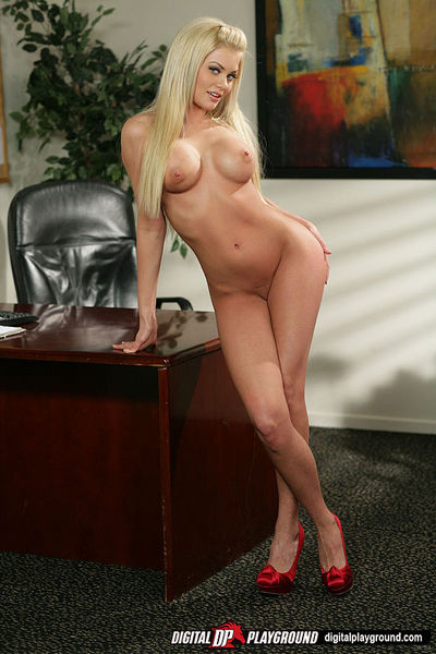 Attractive fairy-haired office babe getting naked at her till place