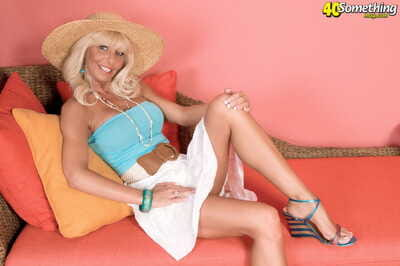 Sexy mature Stormy Lynne flashes moist upskirt & rides cowgirl with largest bazookas out