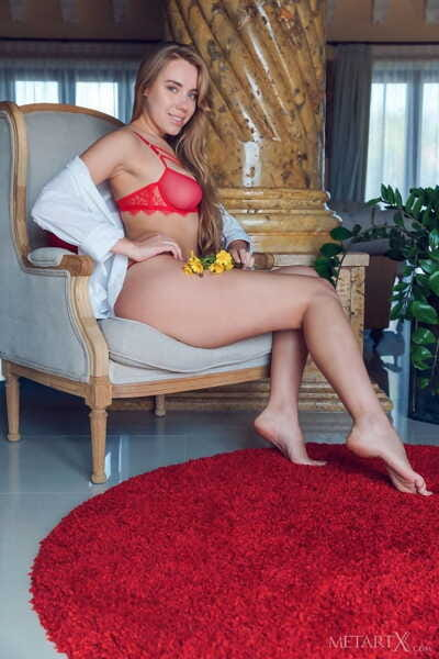 Nice amateur Ryana removes a sexy red bra and panty eager to show her shaved pussy