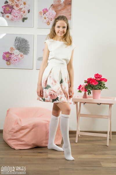 Young cutie Faina sheds sun dress to show tiny teen body wearing knee socks