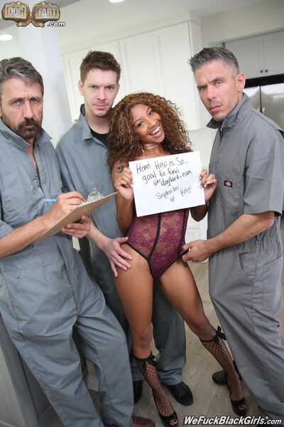 Black chick with permed hair gets gangbanged by white guys in her kitchen
