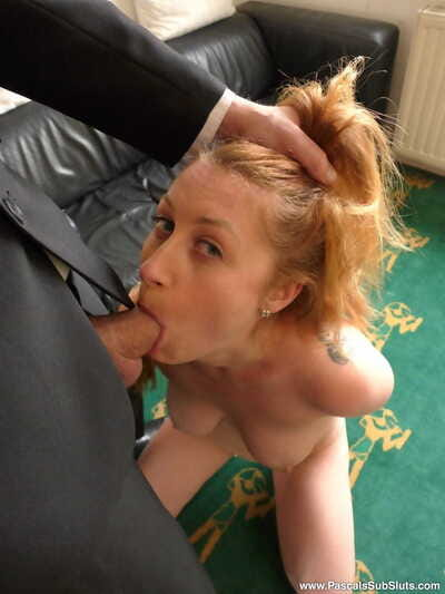 Busty redhead Princess Paris gets on her knees for oral sex sex before fucking