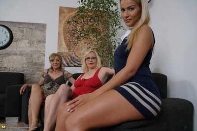 Full-grown blonde women coerce a young blonde into a lesbian MMF