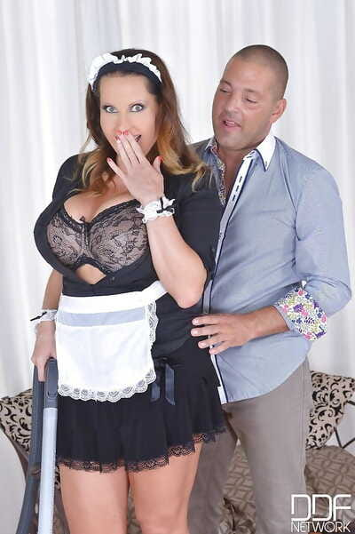 Rounded Maid Laura Orsolya is swallowing a tough dick of her new boss