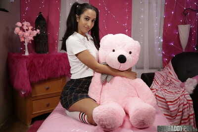 Hot juvenile with pigtails Kiarra Kai flaunting her sexy booty in panties