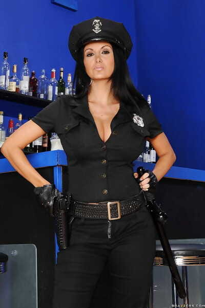 Damp babe in police uniform Ava Addams flashing melons and pussy