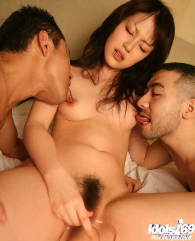 Salacious asian cutie enjoys a Male+Male+Female groupsex with appealing guys
