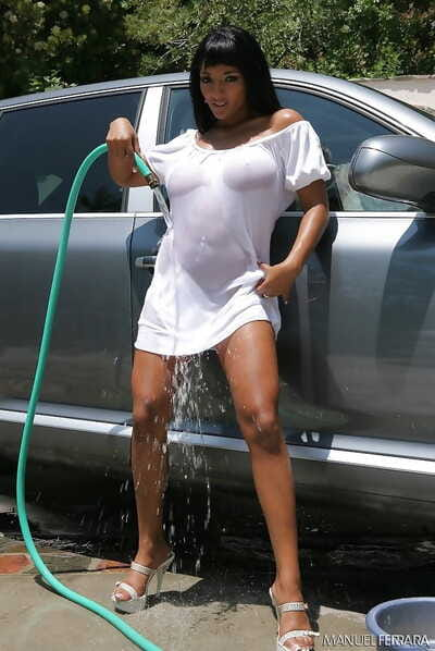 Washing a car is exciting when ebony pornstar Loona Luxx gets wet
