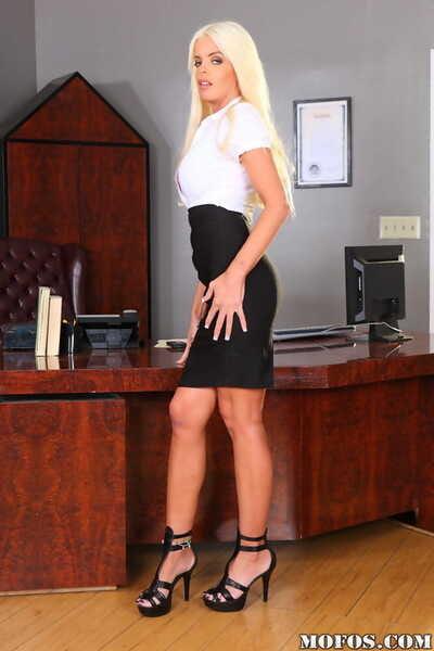 Blonde angel milf in high heels Jordan Blue posing before camera