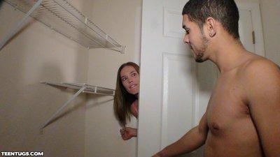 Teen slut Hailey Reed giving handjob in front of big mirror
