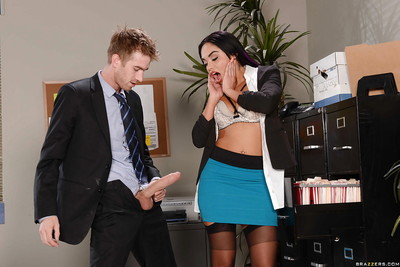 Busty brunette queen Selena Santana taking big cock from behind in office