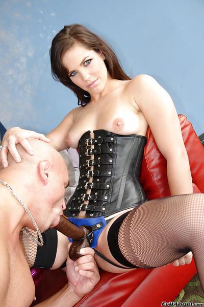 Kristina Rose & Bobbi Starr are into strapon threesome with a bald guy