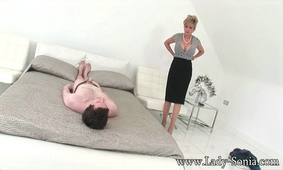 Moist milf lady sonia sitting on face her submissive