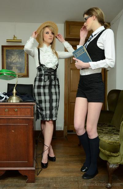 Admirable schoolgirl changing her clad with distinguish of her moist teacher