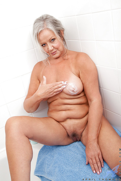 Fatty grandpa with massive saggy mambos playing with herself after bath