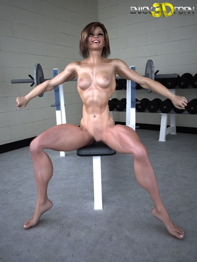 Sporty babe poses naked in gym