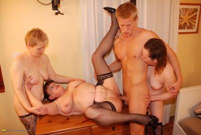 Three horny mommys share one hard jock