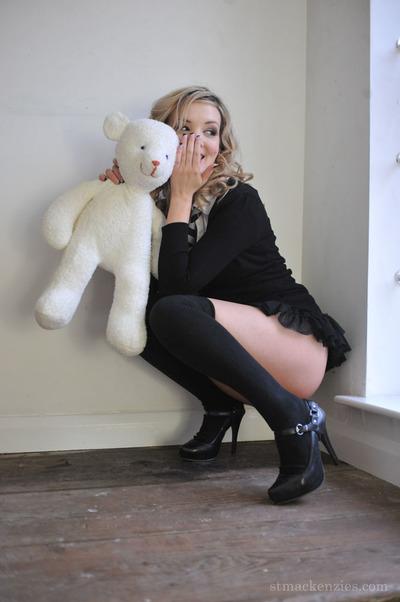 Sexy schoolgirl Amy Alexandra strips and flaunts in opaque socks