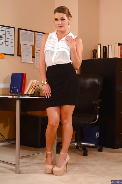 Busty secretary babe Abby Cross lets slip her arse and big tits in office