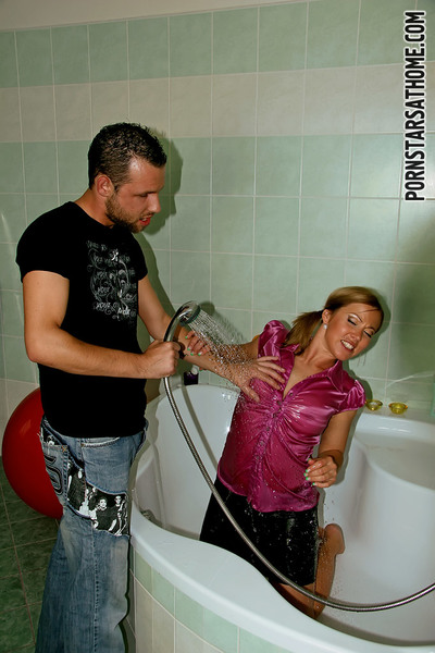 Bibi Fox jolly a shower in her clothes and getting fucked hardcore