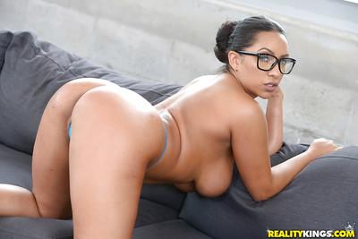 Glasses adorned Latin cutie babe Priya Price flashing large all natural mounds