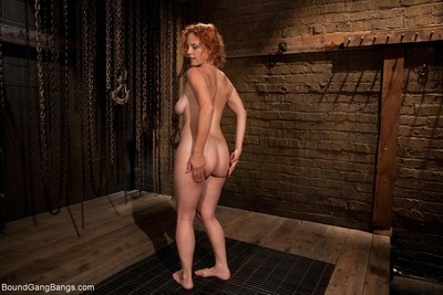 Sexy babe gets tied up, punished and fucked by group of males