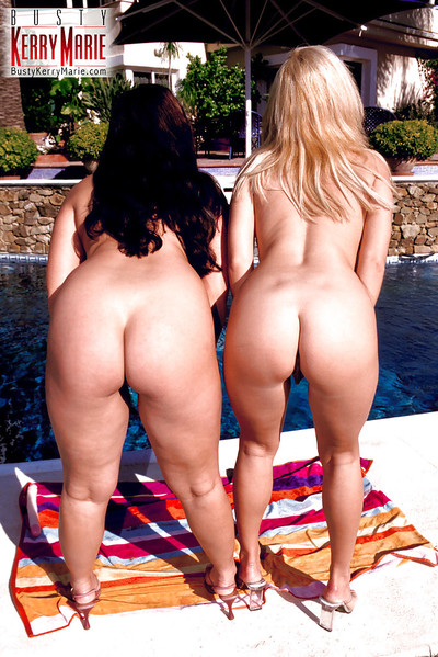 MILF pornstar Kerry Marie and lesbian girlfriend flaunt gigantic tits outdoors