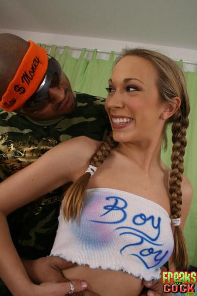 Amateur gal with pigtails Jamie Elle getting bukkake after banging hard