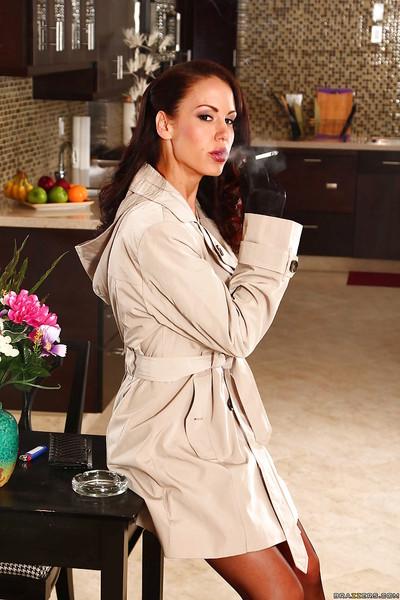 Hot brunette MILF in velvet gloves undressing and caressing herself