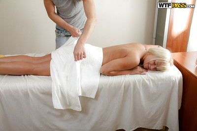 Perky blondie with shiny on top pussy acquires rubbed and nailed on the massage table