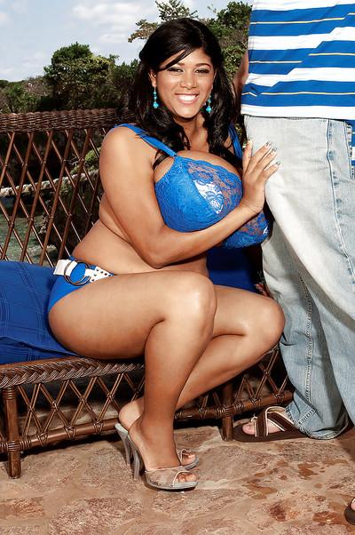 Brown fatty Kristina Milan takes off lacy bra to full around with her big milk sacks