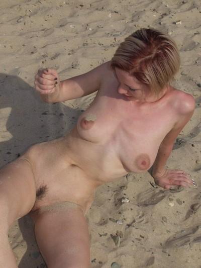 Skinny beach babe melok nude in public