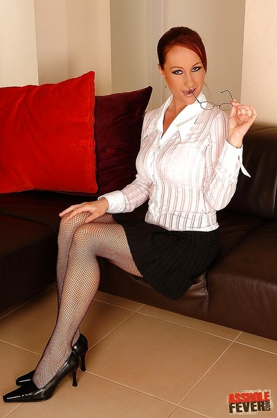 MILF secretary in glasses and stockings Katy Parker got her ass dug