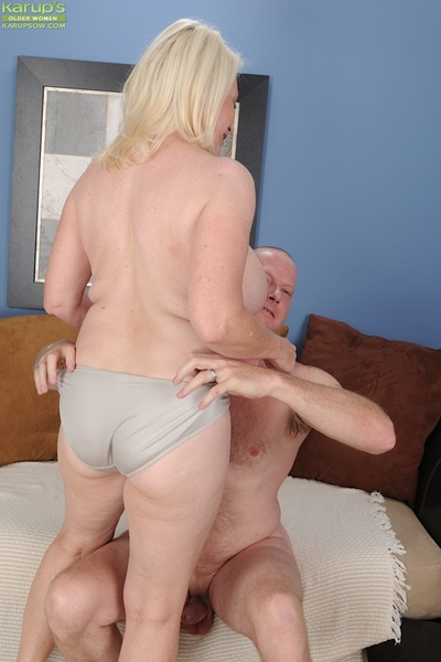 Horny blonde granny Angelique gets fucked hard.